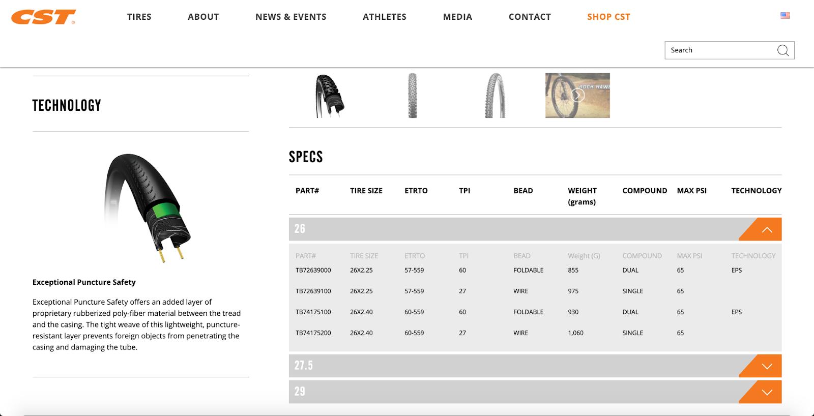 CST tires online catalogue