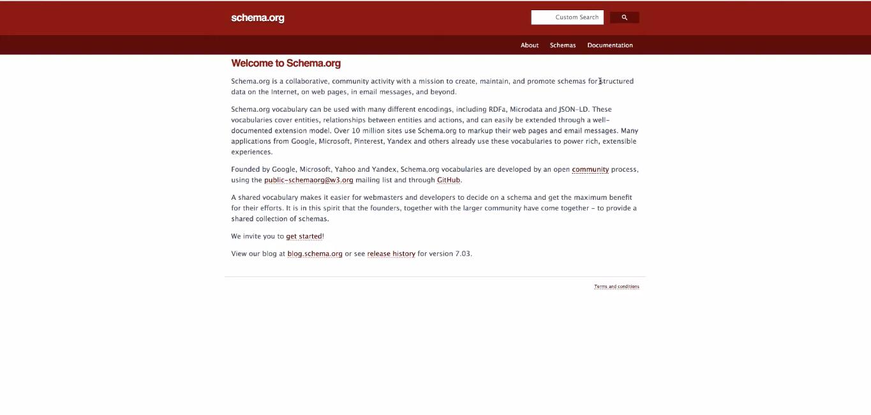 página inicial schema.org