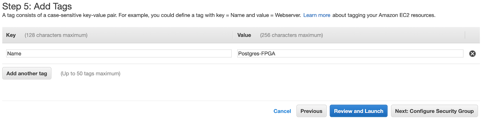 Add tags for your AWS F1 Postgres server