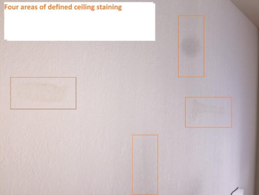 ceiling staining from construction defect