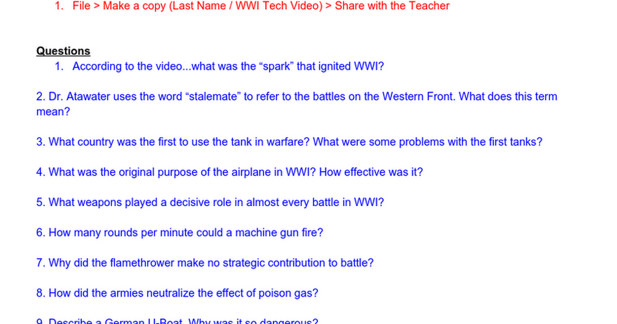 Modern Marvels World War I Tech Video Guide Docx Google Docs