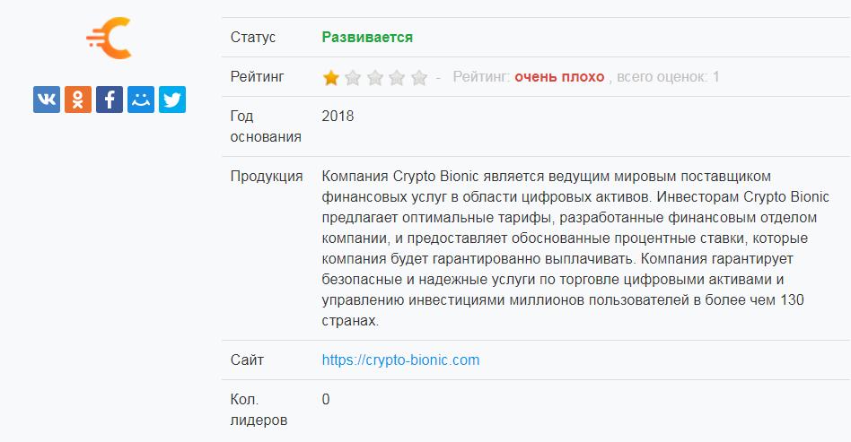Обзор и отзывы о мошеннике Crypto Bionic: важная информация о проекте