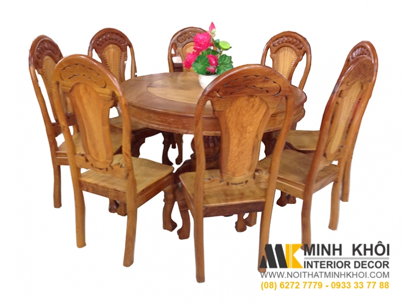 Bộ bàn tròn 8 ghế gỗ tự nhiên căm xe