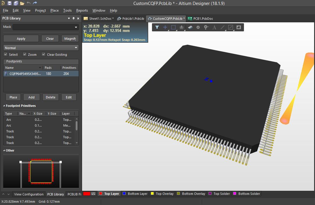 3D-Ansicht Ihres neuen benutzerdefinierten IPC-konformen Footprint-Modells