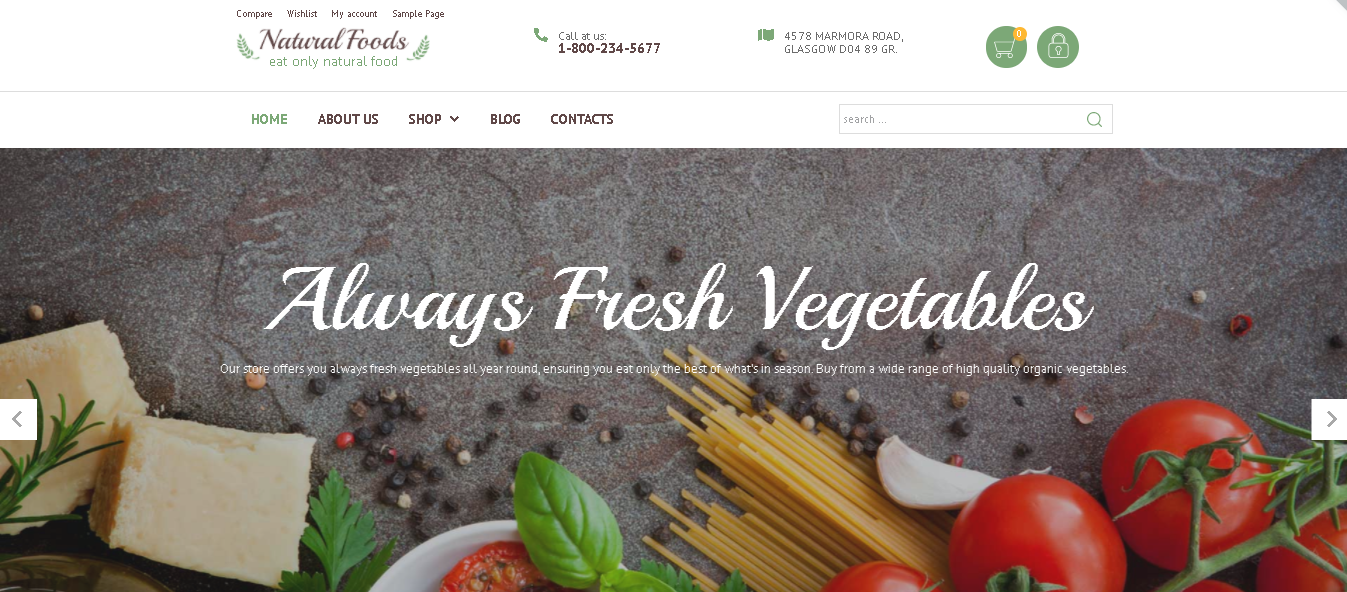 Woocommerce themes Natural Foods