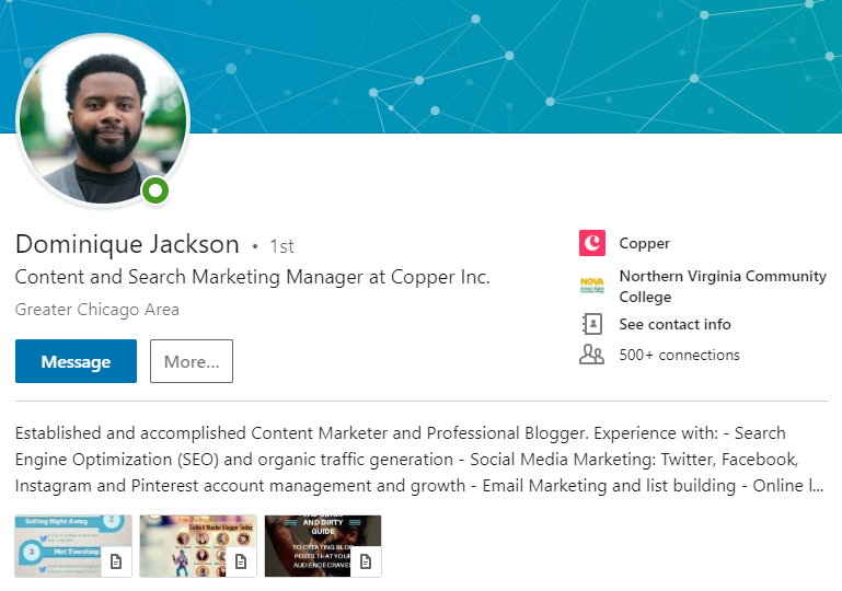 linkedin profile example.