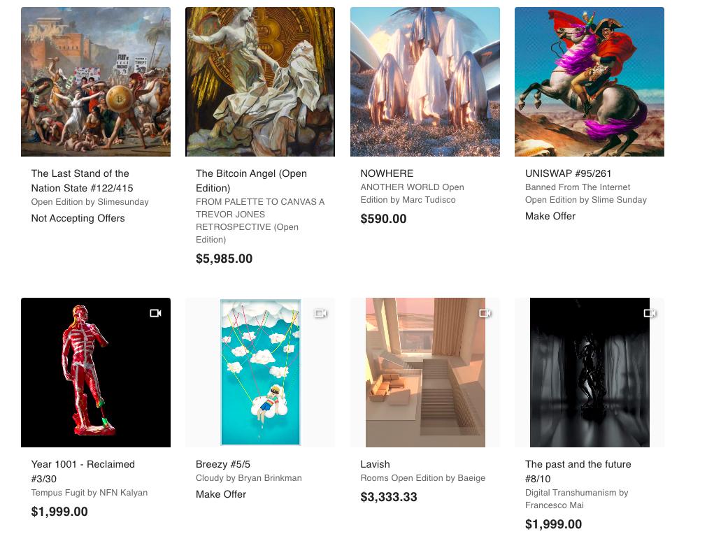 Примеры картин и GIF, которые продаются на Nifty Gateway.