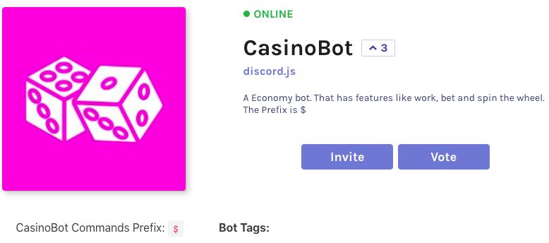 casinobot is a standard gambling bot for discord