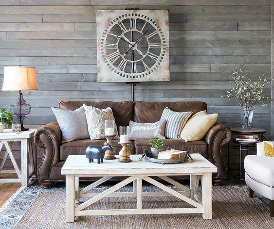 Recent rustic living room with fireplace only in homesable design