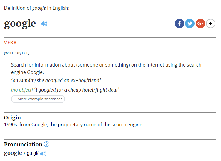 Google terdaftar sebagai kata kerja dalam Kamus Oxford