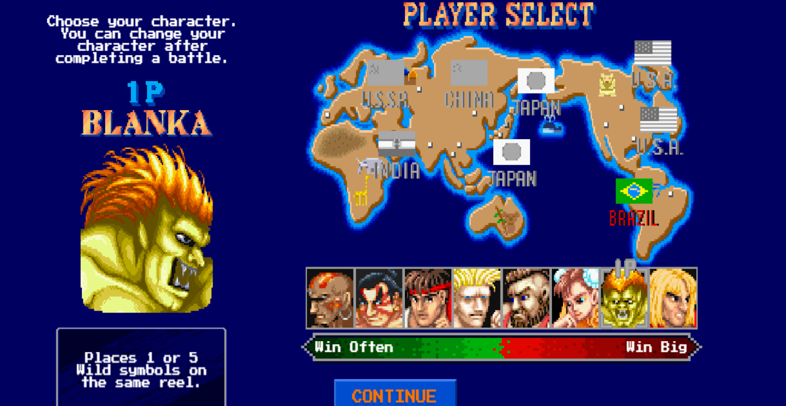 Blanka is one of the eight characters you can play as on Street Fighter II: The World Warrior Slot