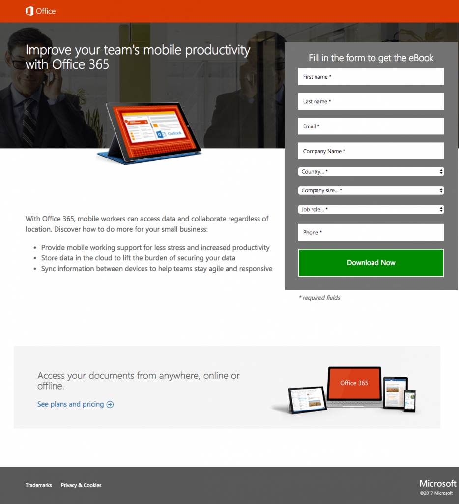 Ejemplos de landing pages exitosas: Microsoft Office