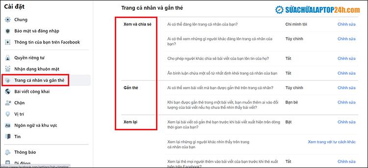 Click chọn Trang cá nhân và gắn thẻ