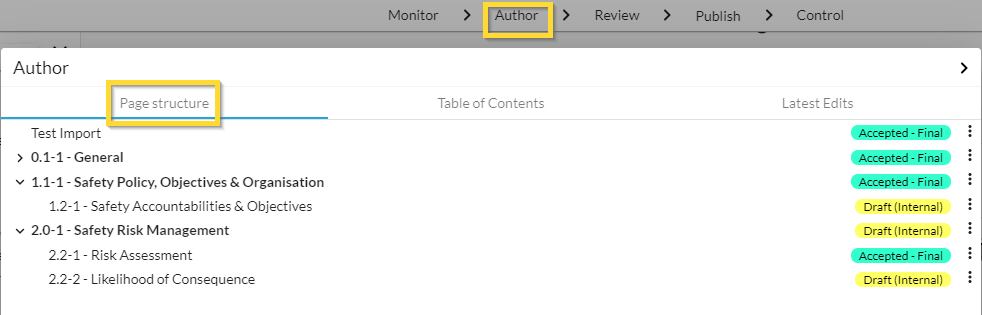 finding Page structure in Web Manuals under Author