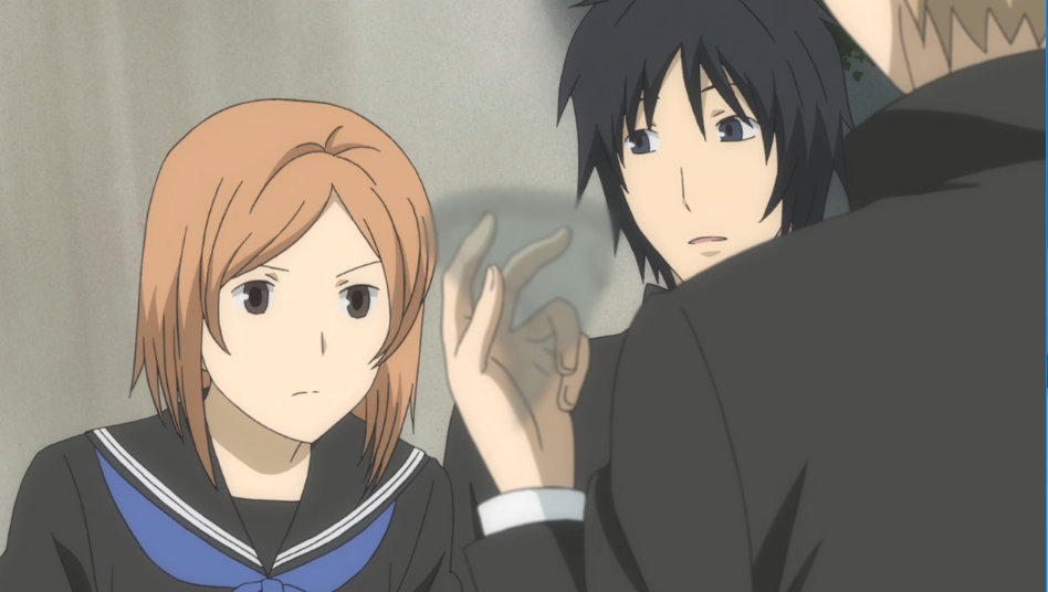 Alt text: Taki and Tanuma, in the below image, gaze intensely at a fragment they can barely see and indicate Natsume has found a piece.