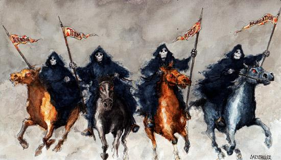 Image result for 4 horsemen of the apocalypse illustrations