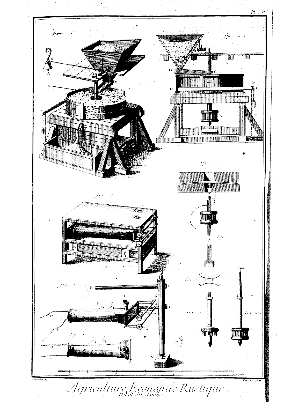 Technical diagram of agricultural equipment in one of the volumes of the Encyclopedia.