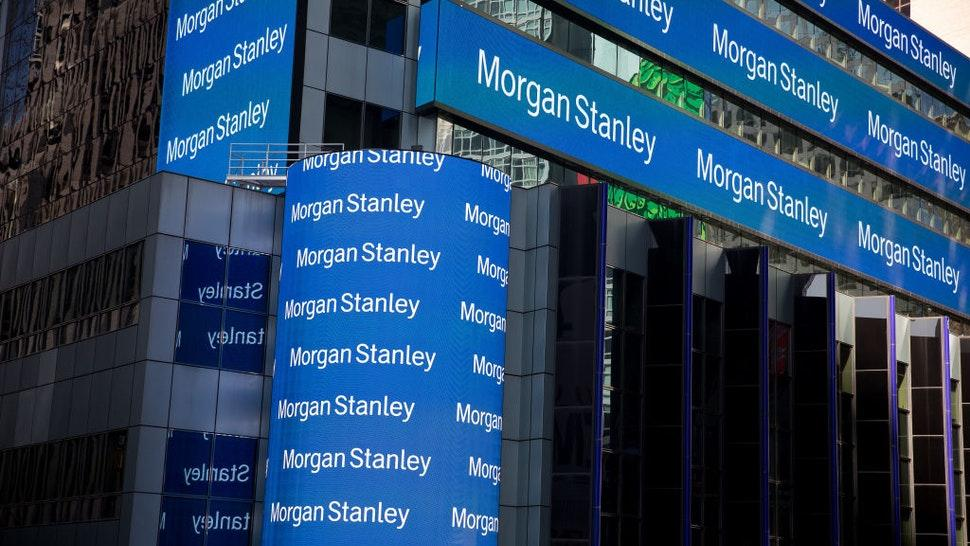 Monitors display signage outside of Morgan Stanley global headquarters in New York, U.S., on Monday, Oct. 14, 2019. Morgan Stanley is scheduled to release earnings figures on October 17.