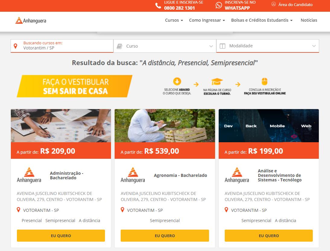 página de resultados cursos anhanguera votorantim