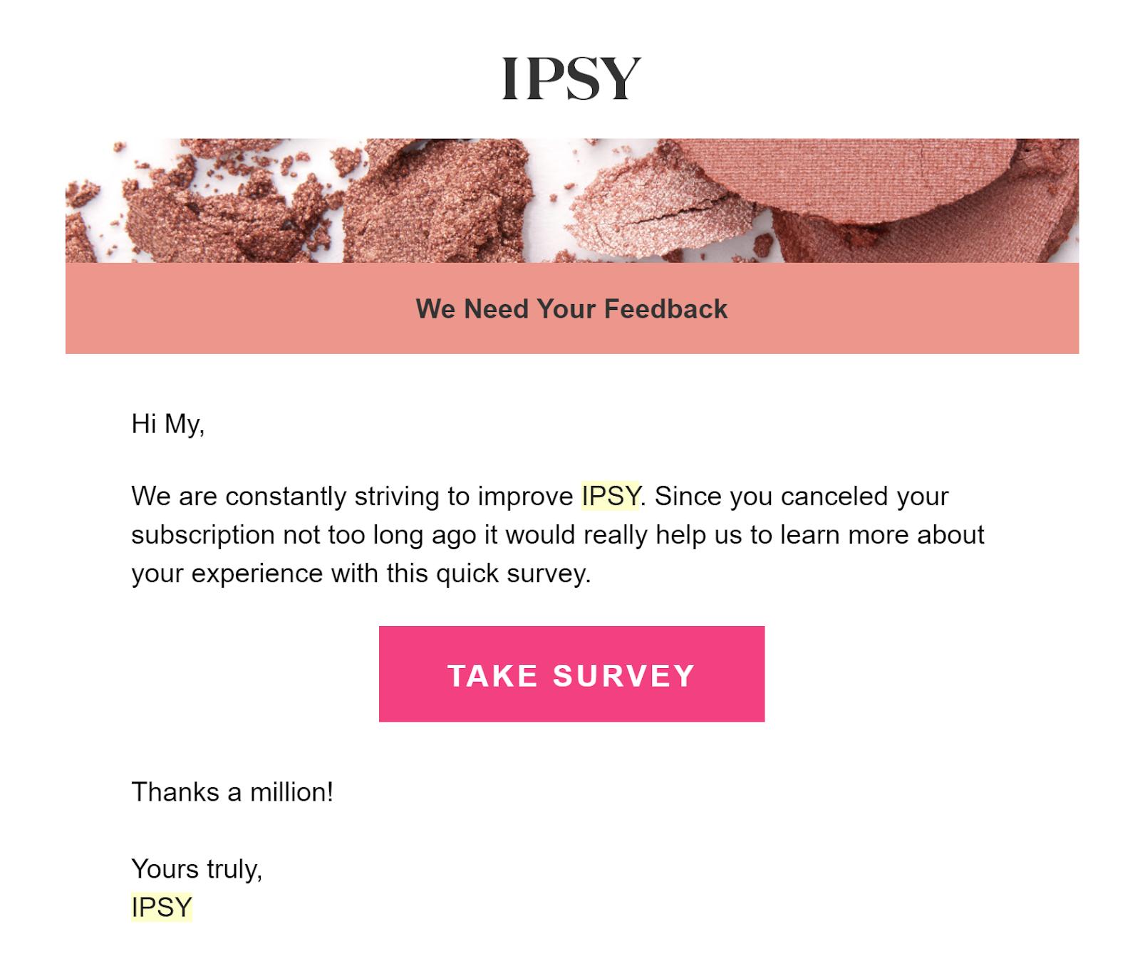 ipsy email survey
