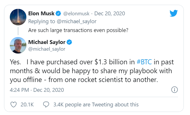 Discussion Twitter entre M.Saylor et E.Musk à propos du Bitcoin