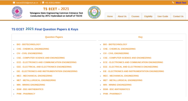 TS ECET 2021 Question Paper with Answer Key