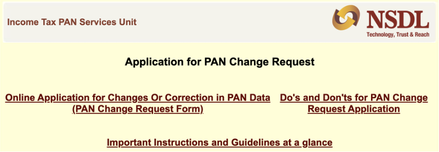 NSDL Application for PAN Change Request