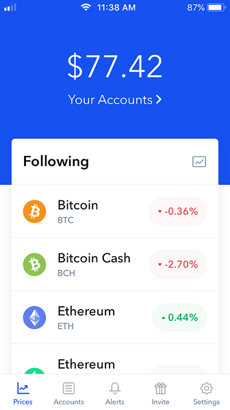 Your accounts page on Coinbase.