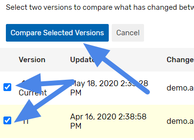Compare versions shared parameters