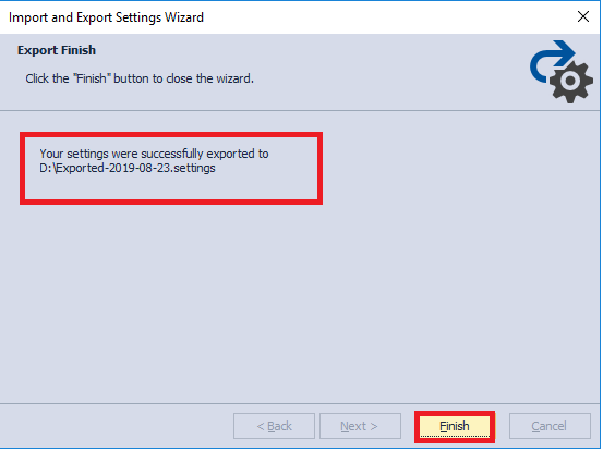 Finishing the Export Process