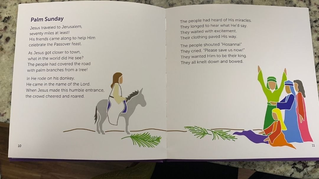 Palm Sunday page in The Easter Story - Holy Week for Kids