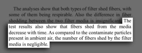 Evidence of HEPA Filter Shed Fibers
