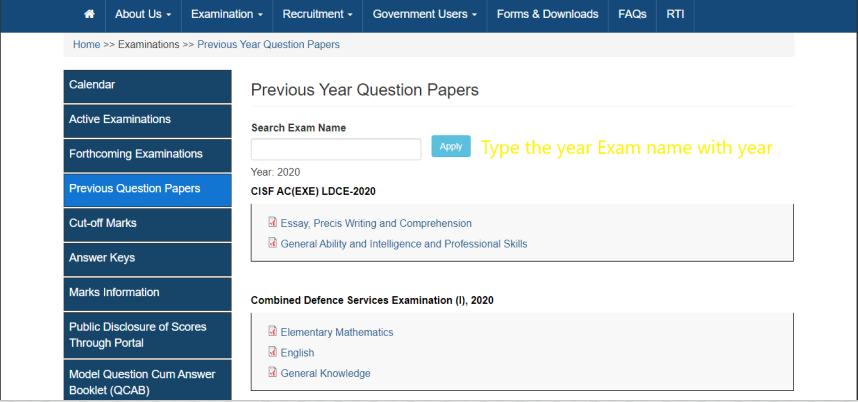 search the particular year question