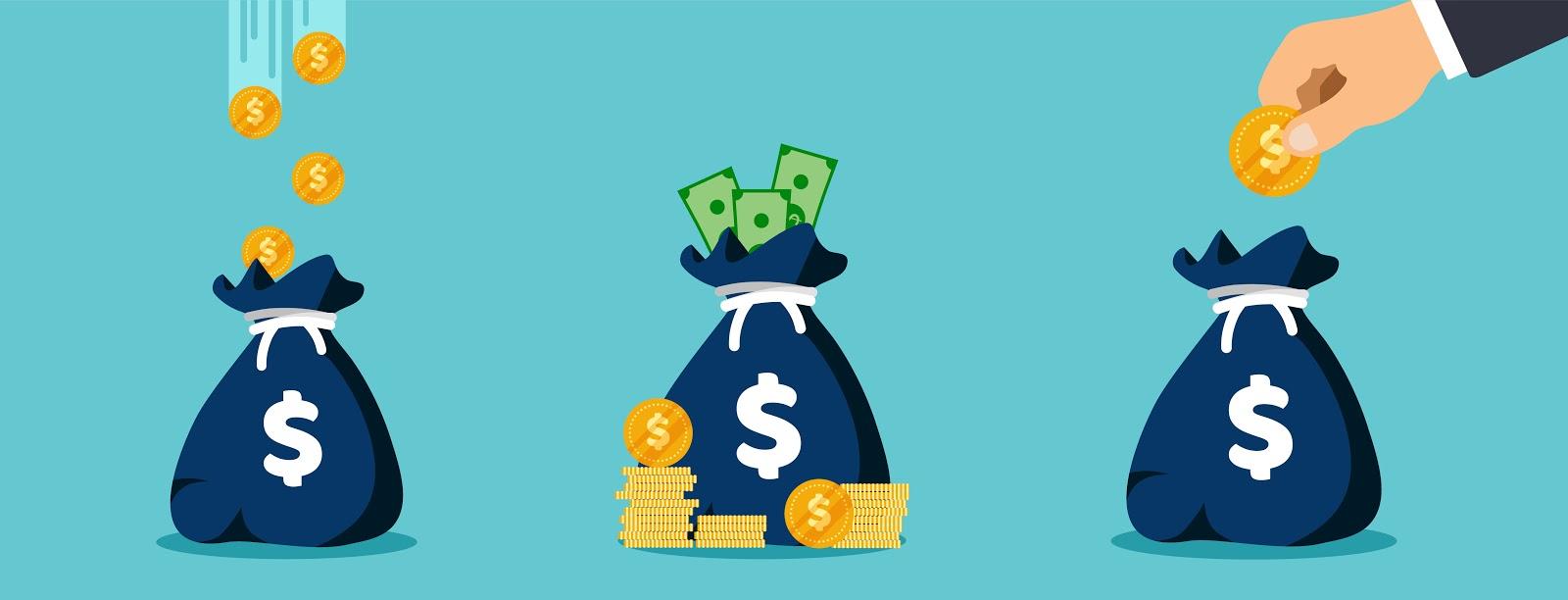 3 money bag cartoon graphics