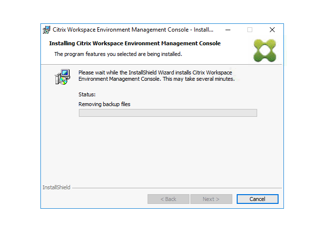 Machine generated alternative text: Citrix Workspace Environment Management Console - Install...  Installing Citrix Workspace Environment Management Console  The program features you selected are being installed.  Please wait while the InstallShieId Wizard installs Citrix Workspace  Environment Management Console. This may take several minutes.  Status:  Removing backup files  InstallShieId