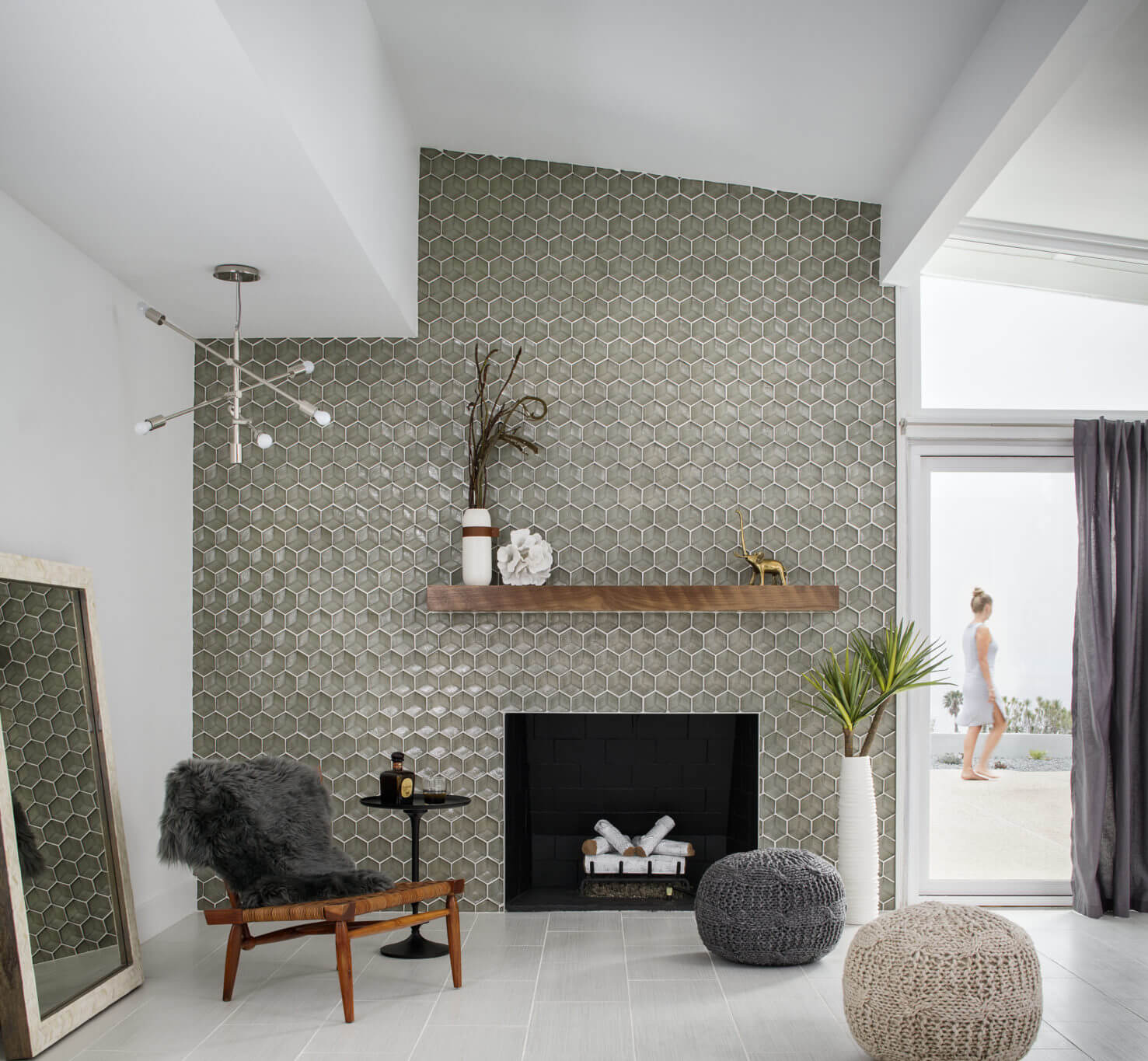 Gray hexagon tile mosaic feature wall / fireplace surround