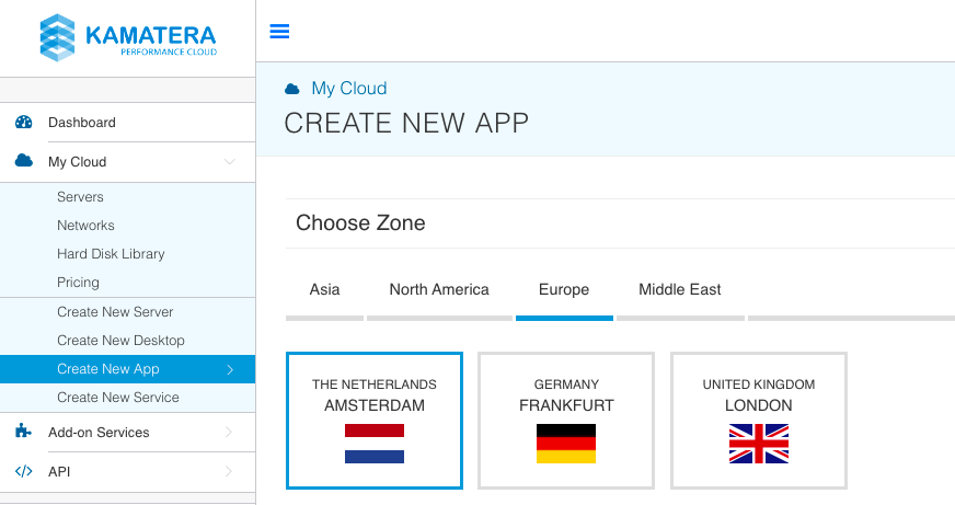 choose location for new one-click app