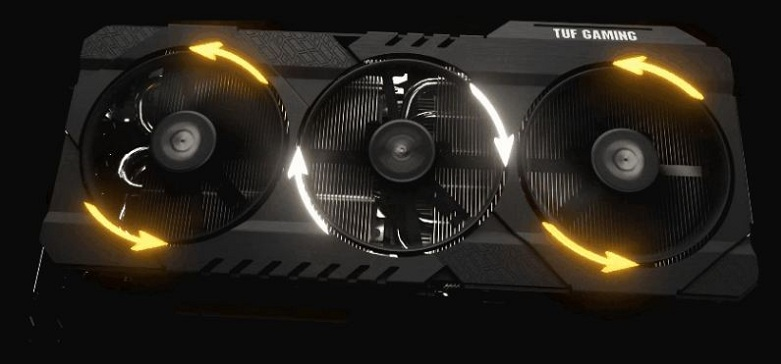 Card màn hình Asus Tuf Geforce RTX 3080 10GB GDDR6X (TUF-RTX3080-10G-GAMING)   Các cánh quạt đảo chiều nhau