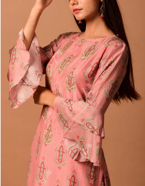 Peach Cotton Silk Kurti For Women