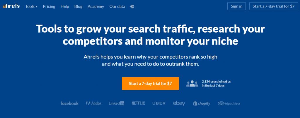 site do Ahrefs - ferramenta para growth hacking