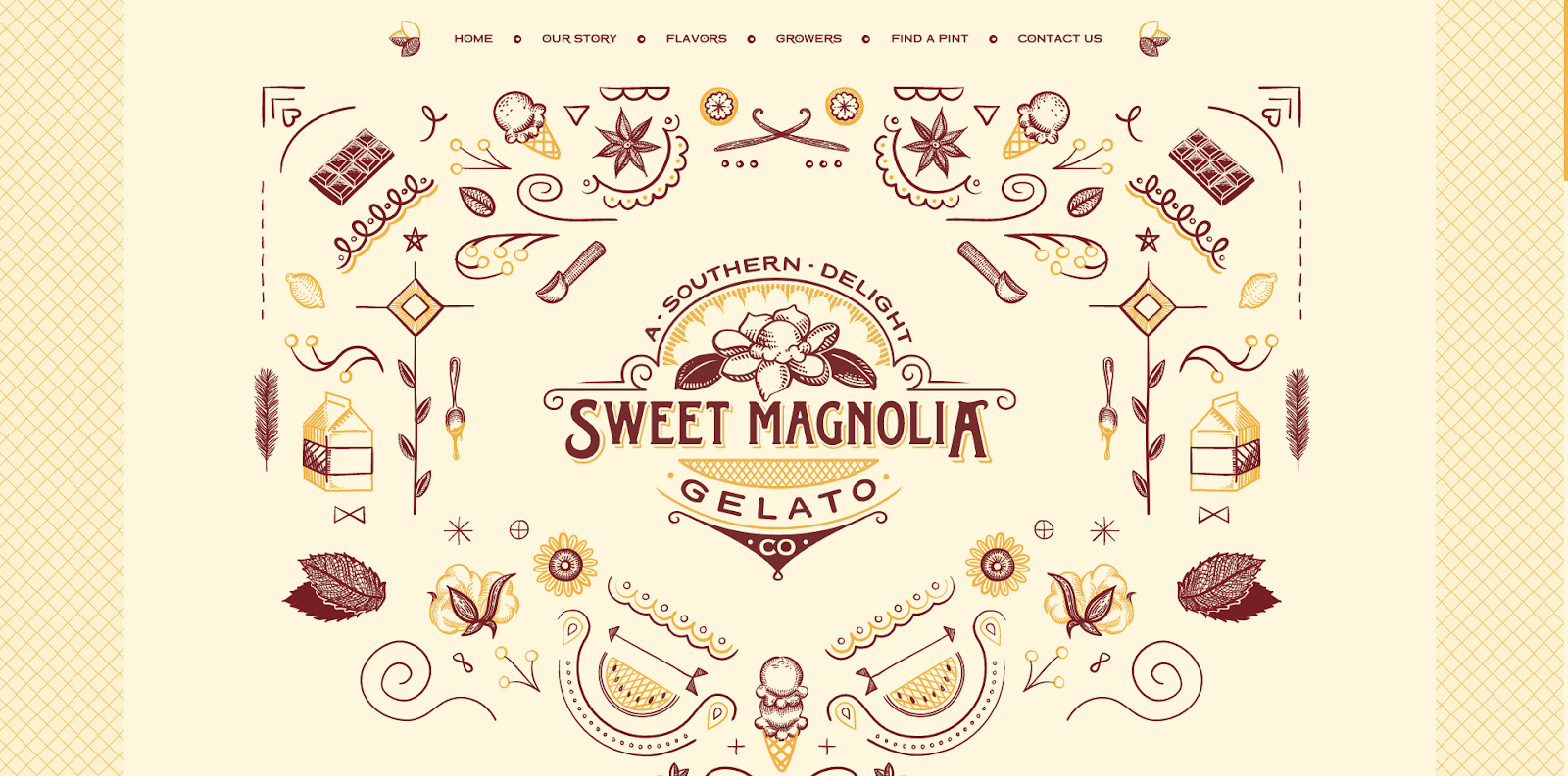 Sweet Magnolia's website uses texture and kitchen-inspired textures and patterns to tell people about its gelato.