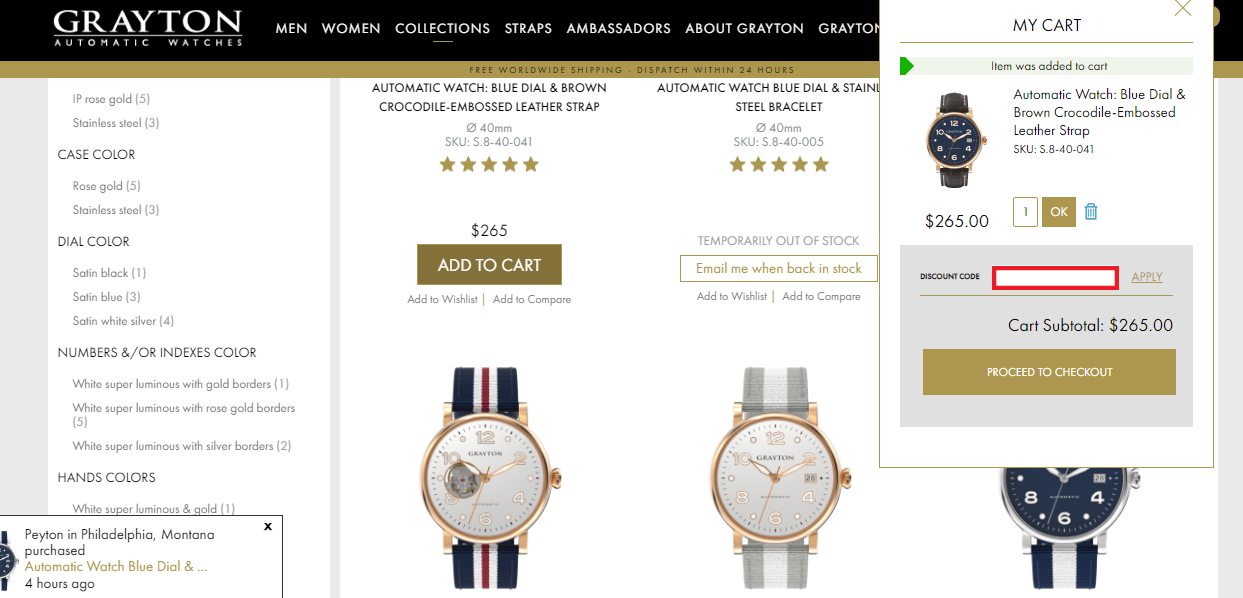 All Grayton Watches promo codes are applicable only on their official website