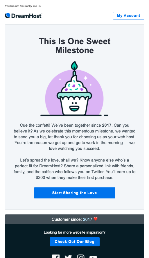"""screenshot of DreamHost email with headline """"This Is One Sweet Milestone"""" followed by graphic of cupcake and dynamic content """"customer since 2017"""""""