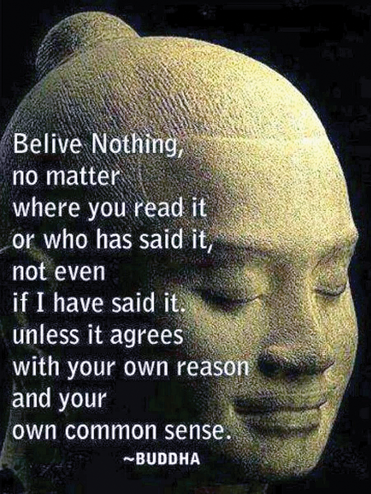 Believe nothing, no matter where you read it, or who said it, no matter if I have said it, unless it agrees with your own reason and your own common sense.