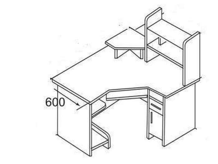 Большой компьютерный стол с бюро