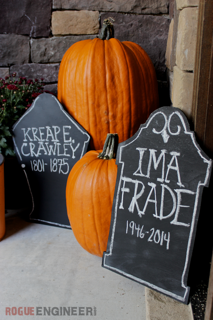 Chalkboard Tombstones: These 30 DIY Halloween Decorations That Are Wickedly Creative will save you money and allow your creativity to flourish