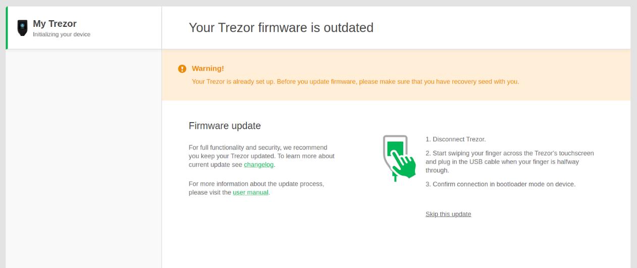 Screenshot of Trezor's firmware updater software.