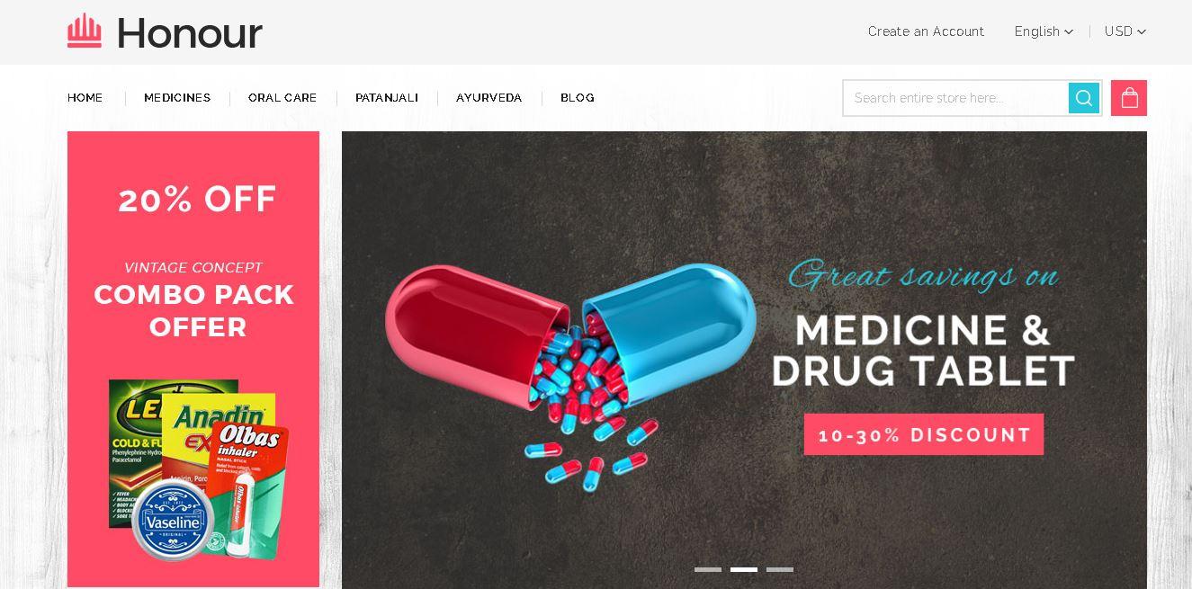 Magento pharmacy theme Honour