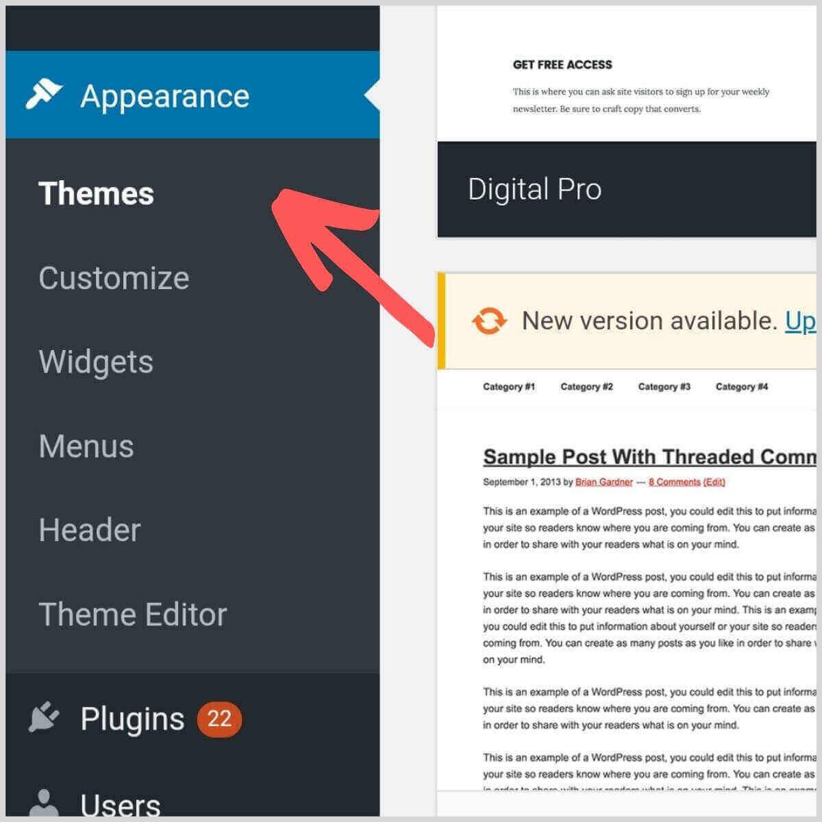 Setup WordPress theme view