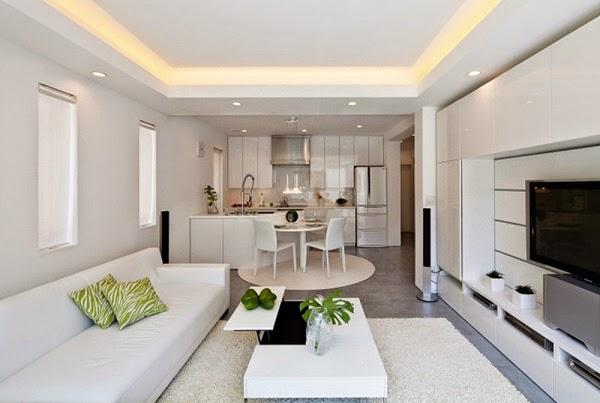 Tông màu trắng của phòng khách và phòng ăn tối giản nhưng vẫn hiện đại